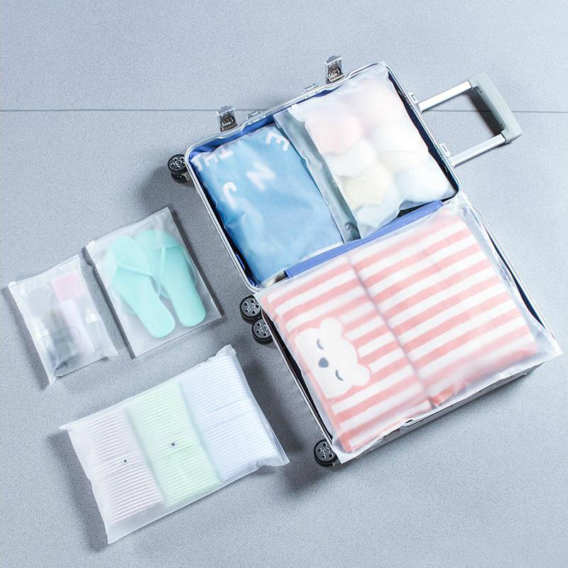 10 Pcs Matte Frosted Travel Waterproof Sealing Underwear Clothing Sock Bag Transparent Package Pouch Toiletry Bag