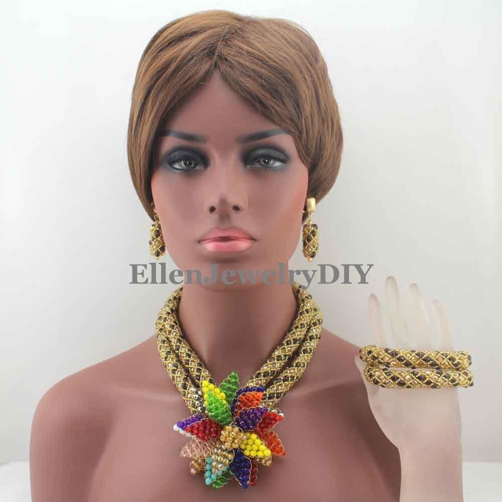 Purple African beads Jewelry Sets Flower Pendent Beads Nigerian Wedding bridal beads Jewelry Set Statement Jewelry Set W13374 цена