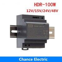 HDR 100W meanwell Switching Power Supply 100W 12V 24V 15V 48V DIN Rail Power Supply mini slim size power source step shape