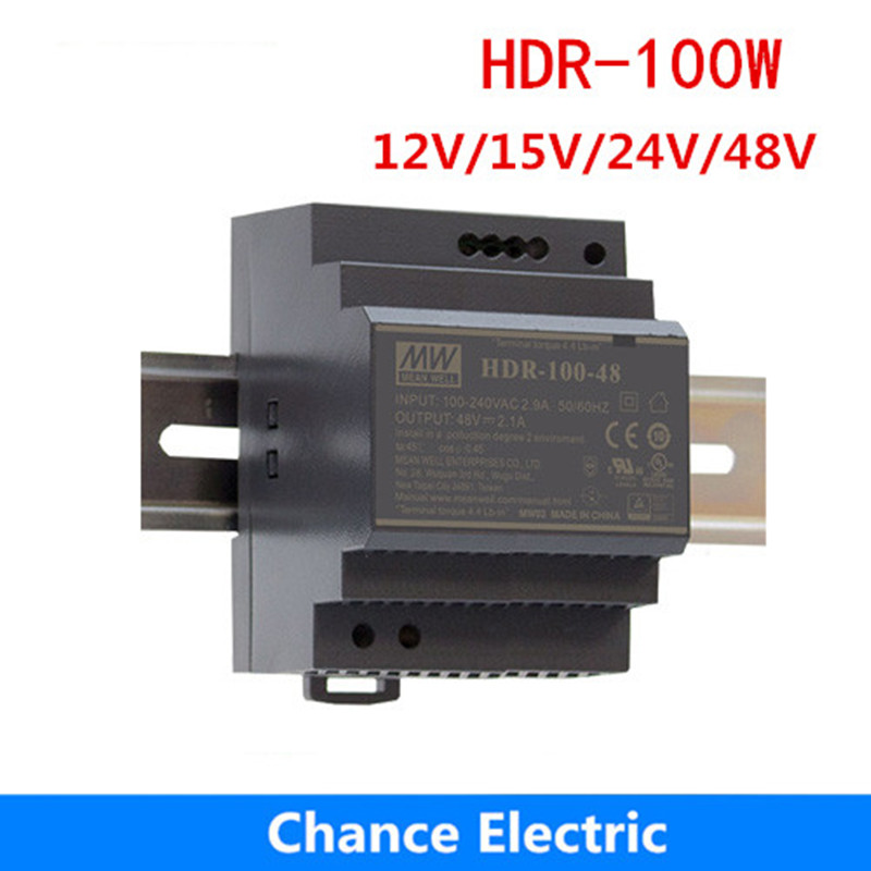 HDR-<font><b>100W</b></font> <font><b>meanwell</b></font> Switching Power Supply <font><b>100W</b></font> 12V <font><b>24V</b></font> 15V 48V DIN Rail Power Supply mini slim size power source step shape image