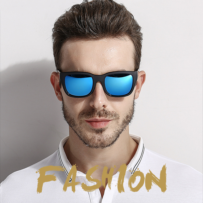 polarized Big Square Frame Sunglasses Uv400 Men Male Silver Tan Lens Mirror Retro Brand Designer Sun Glasses Oculos Men's Sunglasses Men's Glasses el Malus