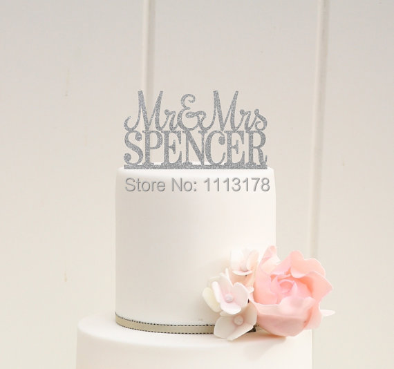 Silver Glitter Wedding Cake Topper Mr And Mrs Decor Design Custom Last Name Birthday Bridal Baby