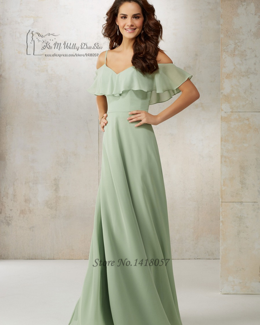 09e4955e72 Unique Navy Blue Mint Green Bridesmaid Dresses Long Chiffon Floor Length  Wedding Guest Dress Spaghetti Straps Vestido Longo