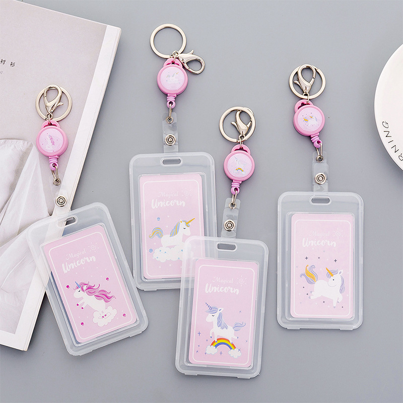 Telescopic Transparent Unicorn Card Holder Cute Animal Keyring Bank Card ID Bus Card Holders Stationery Gift Badge Holder