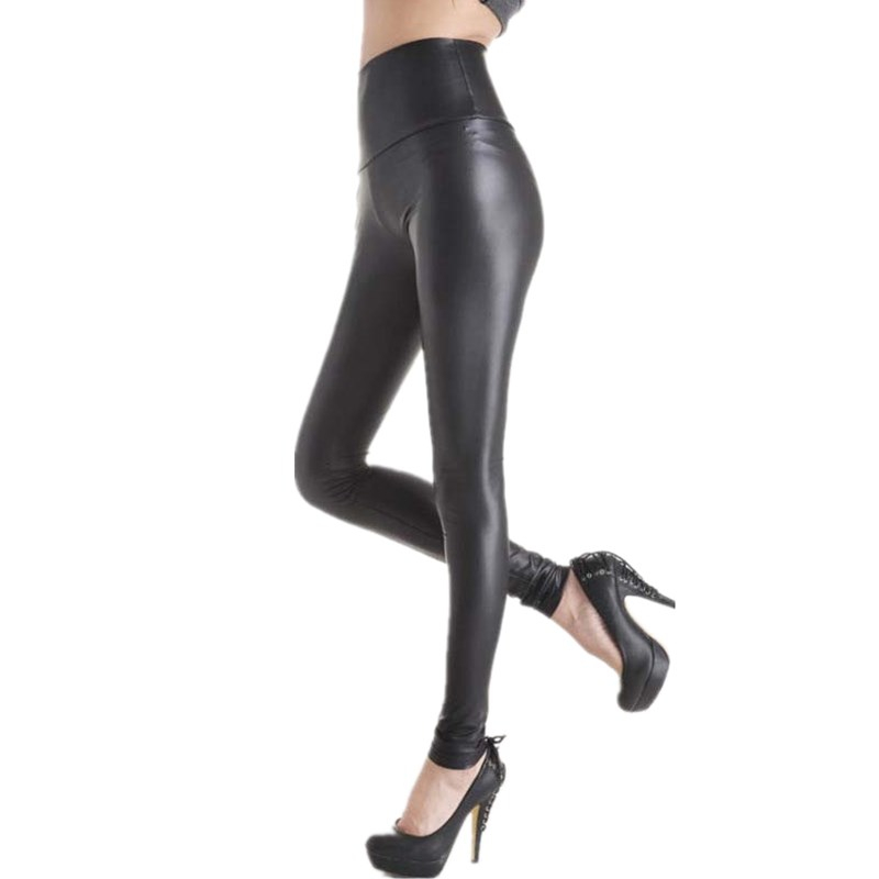 CUHAKCI Plus Size Push Up Legging Faux Leather Leggings Women High Waist Black Leggings Sexy Legging Mujer Leggins Stretchy Navy