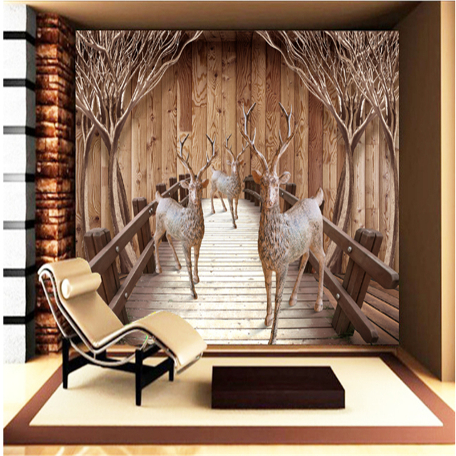 Vintage wall mural wallpaper custom wooden bridge and elk waterproof embossed non woven bedroom wall