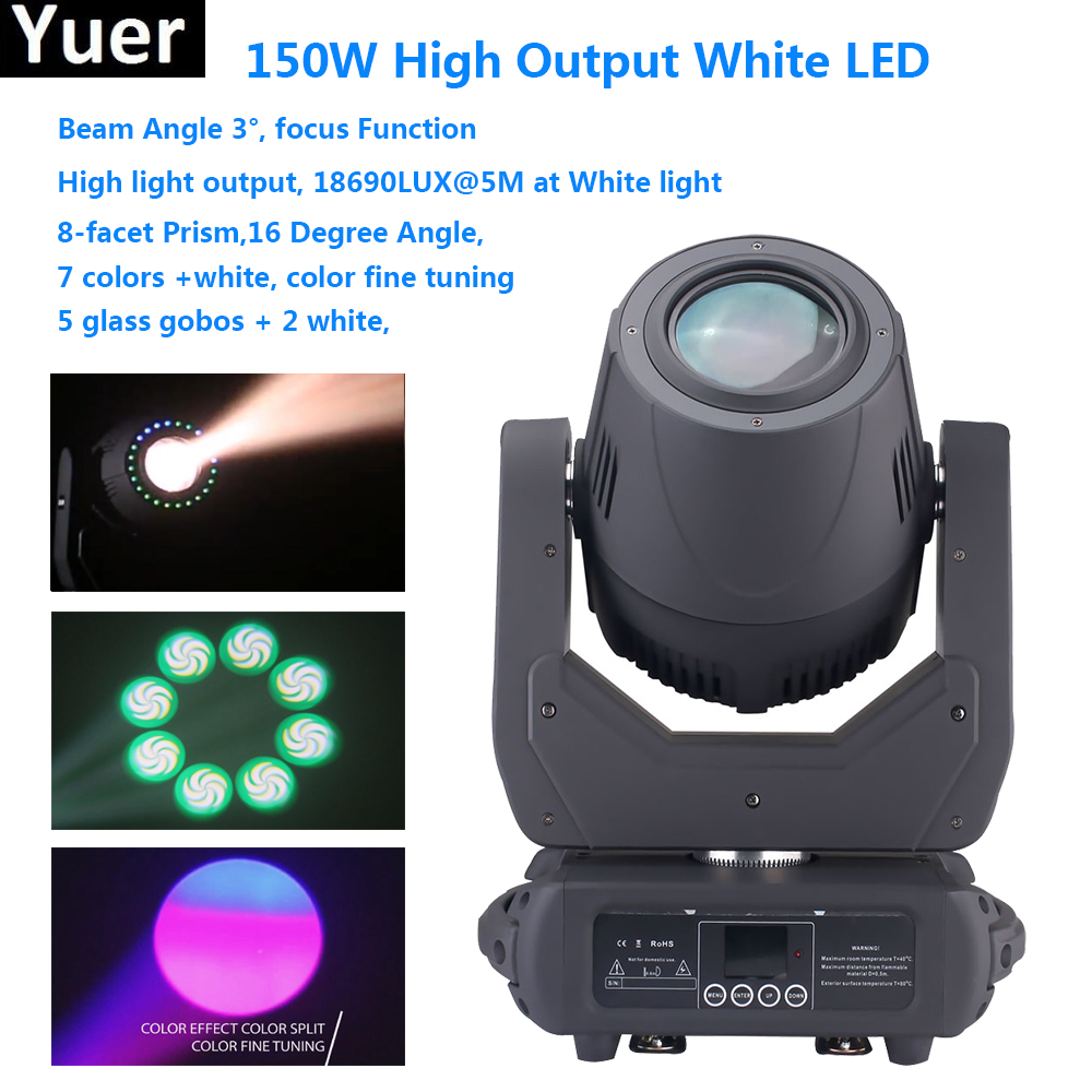 High Output White LED 150W Moving Head Spot Beam Stage Lamps Effect Lighting RGBW & Mixed DMX For KTV DJ Disco Bar Night Club