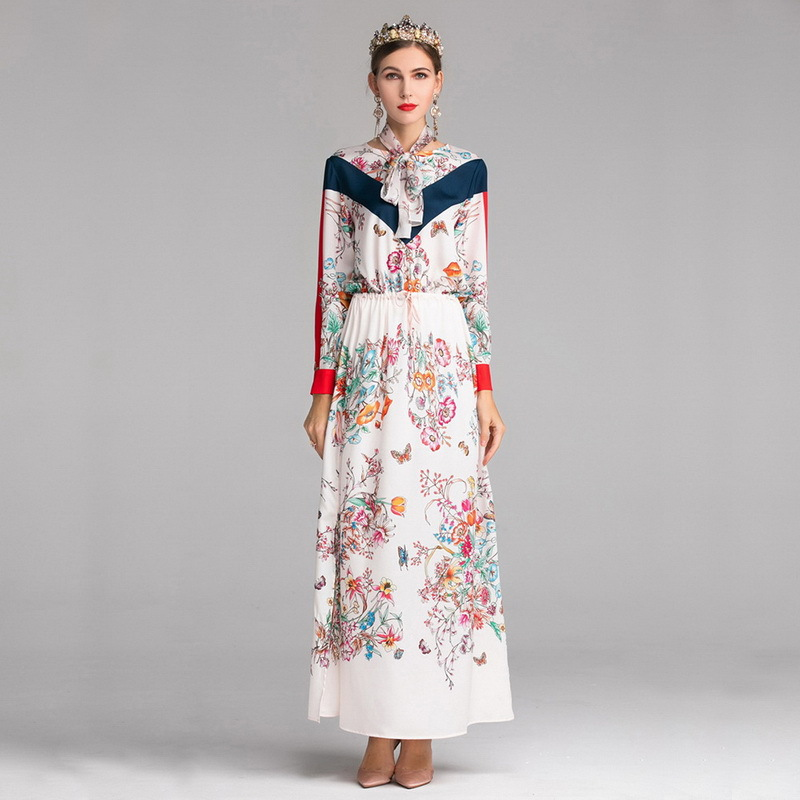Femmes Robes élégant Fleurs imprimé maxi robe taille élastique longues robes vintage manches longues robes de fiesta livraison directe