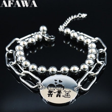 2019 Boy and Girl Love Double Layer Stainless Steel Bracelets Women Silver Color Charm Bracelet Jewelry pulsera pareja B18442