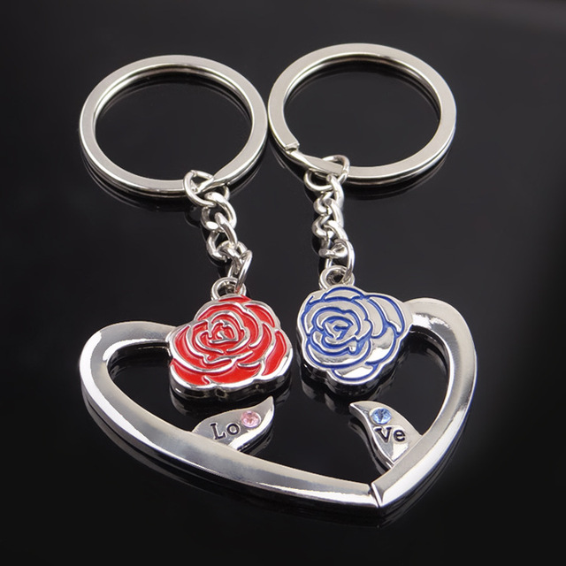 Free Shipping Couple heart-shaped rose Valentine s Day Keychain Favors  Wedding Souvenirs men and women key ring Gifts YS00189 2ede220a1e