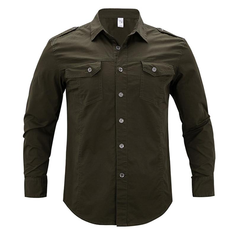 TACVASEN Autumn Military Clothing Men Tactical Shirt Summer Slim Long Sleeve Shirt Men's Cotton Shirts Casual Clothes TD-LHZ-005