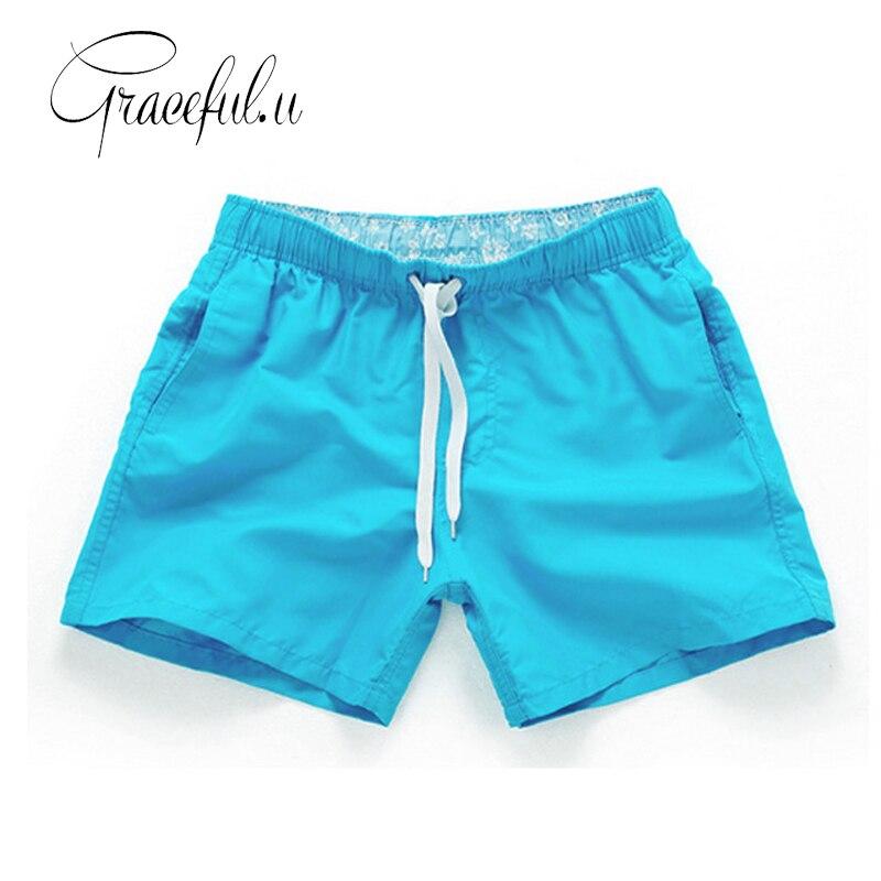 Natación troncos hombres playa 2017 Más tamaño bañadores hombres sólido secado rápido Pantalones cortos gay boxeador de playa 14 colores