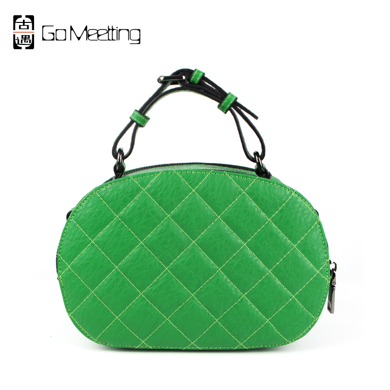 Go Meetting Real Split Leather Women Shoulder Bags High Quality Diamond Lattice Handbags Famous Brand Small Crossbody Bags WS3