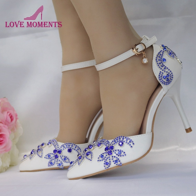 Gorgeous Wedding Dress Shoes Pointed Toe Royal Blue Diamonds Heels