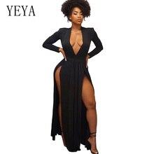 все цены на YEYA 2019 Women Maxi Dress Elegant Party Long Sleeve Sexy Deep V Neck High Slit Black Floor-Length Club Long Dresses Femme Robe онлайн