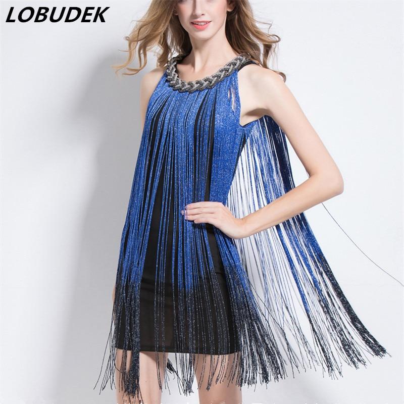 Verano mujeres paquete vestido de cadera Halter cuello de cuentas Sexy azul borla una pieza vestido de fiesta cantante escenario traje Bar DJ JAZZ vestido