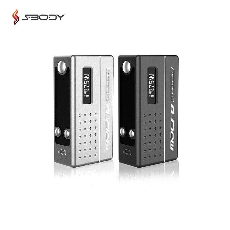 Original Sbody Macro DNA75 boîte Mod Evolv 75 w puce Vape Mod Fit 18650 batterie RDA RTA RDTA réservoir E Cigarette Mods Macro mise à niveau