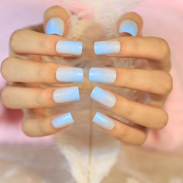 24pcs Acrylic Full Cover Nail Tips Gradient Light Blue False Nail ...