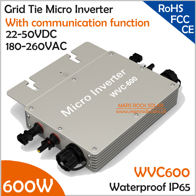 600W waterproof grid tie solar micro inverter,wide voltage 22-50VDC to 180-260VAC with communication function with 2 meter cable 200w micro inverter wifi remote communication waterproof microinverter dc24v 45v to ac 220v 230v for 36v solar panel system