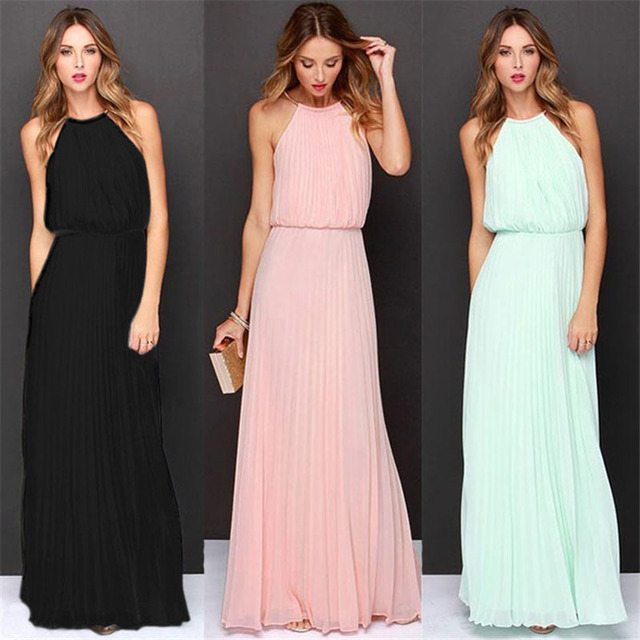 40580001a ... sin mangas estilo bohemio Rosa vestidos noche. Robe Femme Ete 2019  Summer Dress Women Chiffon Maxi Dress Fashion New Sexy Sleeveless Bohemian  Style