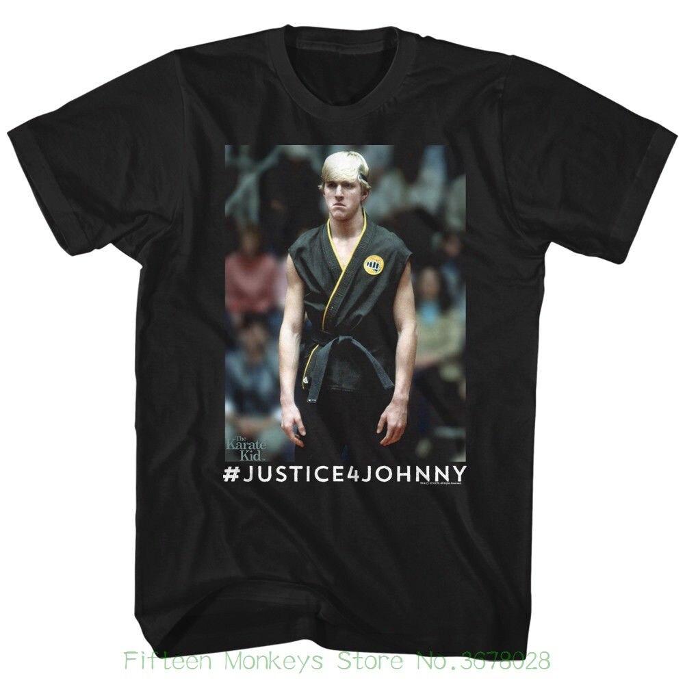 100% хлопок короткий рукав o-образным вырезом футболки karate kid justice4johnny черный Для мужчин взрослых футболка с короткими рукавами