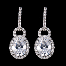 3 Colors Crystal Fashion Design Jewelry Cubic Zircon Stud Earring for Women Wedding