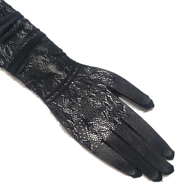 Lace Long Gloves Women Sexy Black White Openwork Evening Opera Glove Ladies 3