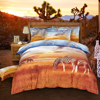 Queen King size 4Pcs Lovely Animal Zebra Print Bedding sets 100% Cotton Soft Bedclothes Sanding 4Pc Duvet cover Bed sheet set