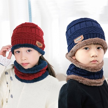 Balaclava Face Mask Hats Cashmere Baby Skullies Beanies Dual-use Hats Scarf Boy Girl Children Wool Knit Hats Winter Thickening