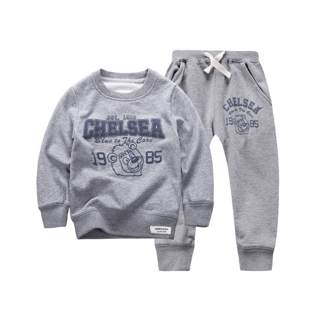 2015 New Winter Autumn Children Hoodies Sweatshirt Set Boys Girls Coat Kids Long Sleeve Casual Outwear Baby Clothing Set 3 color