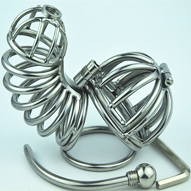 2016 New Stainless Steel Double Male Chastity Belt Adult Cock Cage With Penis Ring Sex Toys Bondage Chastity Device Sex Products