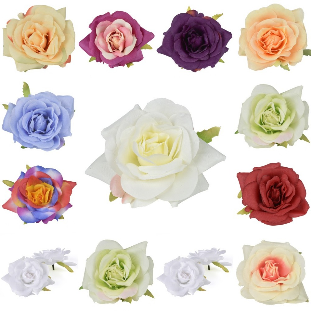 Flower heads for crafts - 10pcs Artificial Silk 8cm Flower Heads Rose Heads Multicolor For Wedding Background Wall Bridal Craft Hair