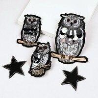 Gufo paillettes strass in rilievo spilla patch applique tessuto di cristallo sew on patch di abbigliamento di moda borse decorazione di patch