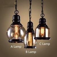 American Country Retro Iron Cafe Pendant Lamp Creative Glass Shade Hemp Hope Art Loft Light Bar Light Dining Light Free Shipping