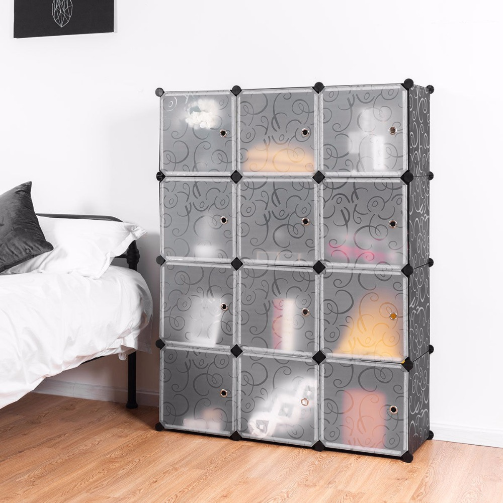 Giantex DIY 12 Cube Portable Closet Storage Organizer Clothes Wardrobe Cabinet W/Doors Home Furniture HW58560 20 cubes interlocking modular storage organizer shelving closet wardrobes rack with doors for home clothes shoes toys storage