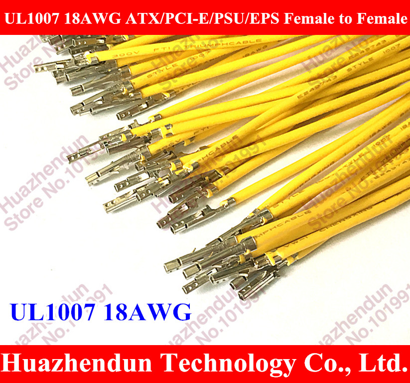 1000PCS/LOT UL1007 18AWG ATX / PCI-E / PSU / EPS Female to Female/male,male to male Crimp Terminal Pins Wire - Yellow/Black 40cm 1pcs lot md6f line md6 female mouse and keyboard to 4p terminal line 50cm