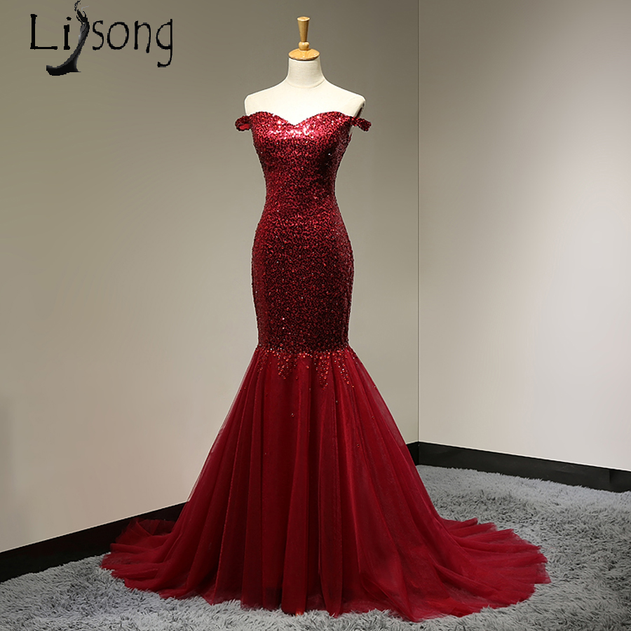 Burgundy Mermiad   Prom     Dresses   Long Off Shoulder Sequined Women   Prom   Party Maxi Gowns   Prom   Formal   Dress   casamento vestido longo