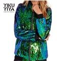 YIKUYIYA 2017 New Spring Women Sequin Coat Green Bomber Long Sleeve Zipper Streetwear Jacket Preppy Style Loose Casual Basic Top