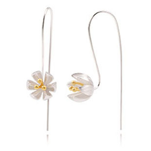 Hot Sale 925 Sterling Silver Jewelry 925 Sterling Silver Big Gold Long Lotus Flower Earrings For Women