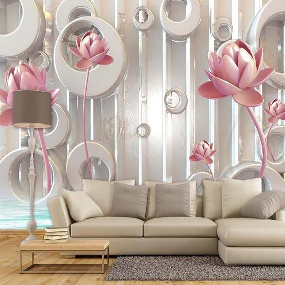 Buy 3d photo wallpaper lotus flower for Decor mural 3d