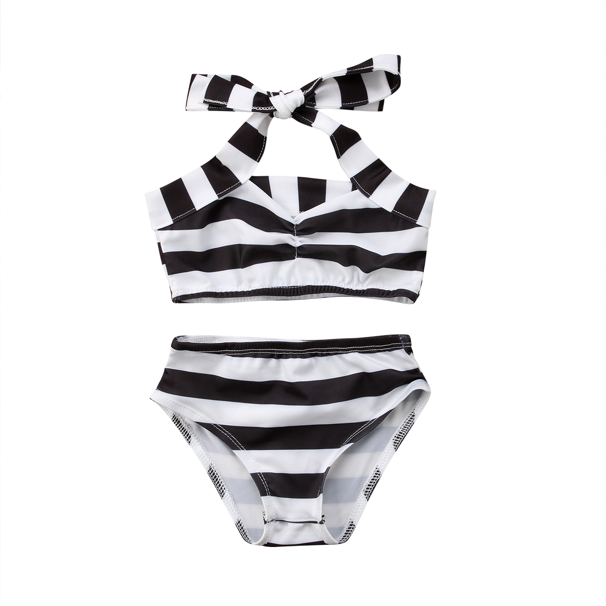 Toddle Kids Baby Girls Clothes Stripe Swimwear Swimsuit Bathing Suit Beachwear 2Ppcs Blackless Swimsuits Summer Outfits 0-3T