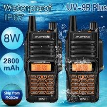 2 шт Baofeng UV-9R плюс IP67 влагонепроницаемые Walkie Talkie 8 Вт Ham Портативный CB радио pofung 8 W 10 км Long Range UV9R UV-5R радио