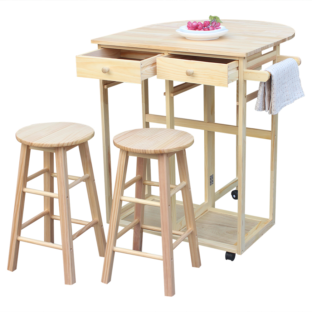 FCH Semicircle Solid Wood Folding Dining Cart with 2 Free Stools NaturalFCH Semicircle Solid Wood Folding Dining Cart with 2 Free Stools Natural