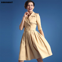 2016 Summer Europe High Quality Brand Trench Dresses Female Half Sleeve Aprocit Pleated Dress Uk High