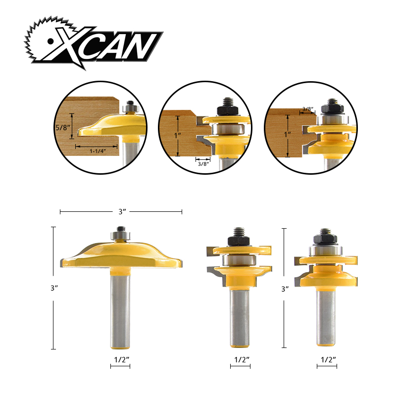 XCAN хвостовиком Диаметр 1/2 Rail & Stile фрезы Соответствует 3 дверь немного нож Деревообработка резак Tenon резак для деревообрабатывающие инструме...