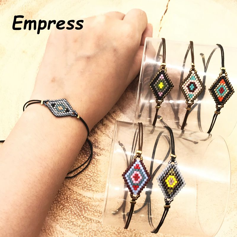 2018 Empress New Fashion Woman Lucky Big Rhombus Simple Crystal Bracelets Glass Miyuki Beads Black Rope Chain Adjustable