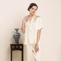CEARPION китайский стиль вышивка цветок 2 шт. рубашка + брюки пижамы элегантный для женщин короткий рукав костюм повседневное домашняя одежда