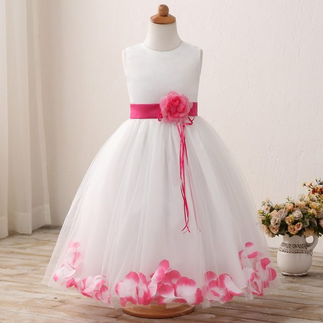 e5bc29005d1 Kids Flower Girl Prom Formal Dresses For Princess girls Party Wedding  Clothes Summer bow Petal Hem Tutu dress for Girl Ceremony