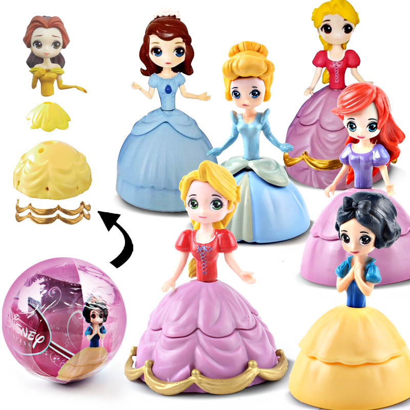 5 Inch Princess Belle Cinderella LOL Baby Dolls In Egg PVC Action Figures LOL Ball Toy Buy 3 Pcs Send 4 Pcs