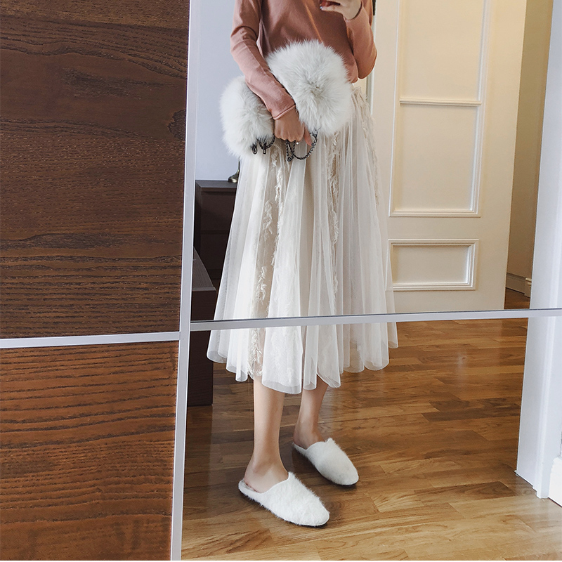 Mishow 2018 Autumn And Winter Fashion Women Lace Princess Fairy Style Skirt Puffy Fashion Skirt Long Skirts MX18D1871